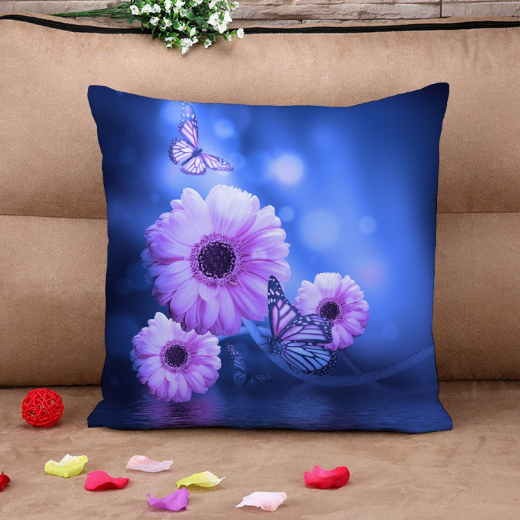 Dreamlike Purple Daisy with Butterflies Cotton Throw Pillow Case