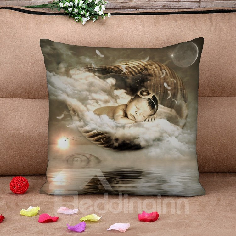 Holy Baby over the Wind Cotton Throw Pillow Case