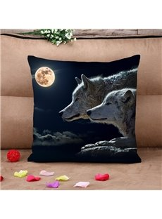Lifelike Wolves under The Moon Cotton Throw Pillow Case