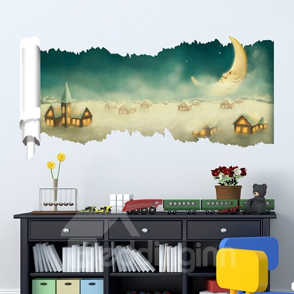 New Arrival Dream Moon and Houses 3D Wall Stickers