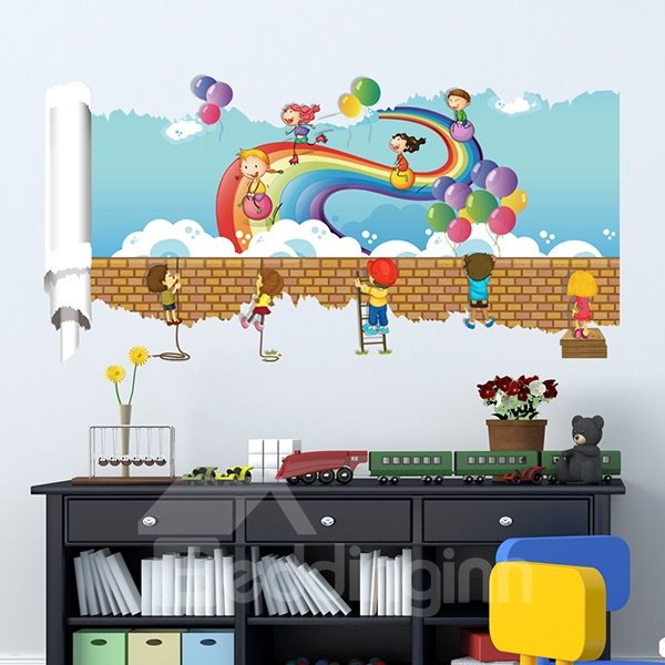 Cute Children Play with Ballon under Rainbow Pattern 3D Wall Stickers