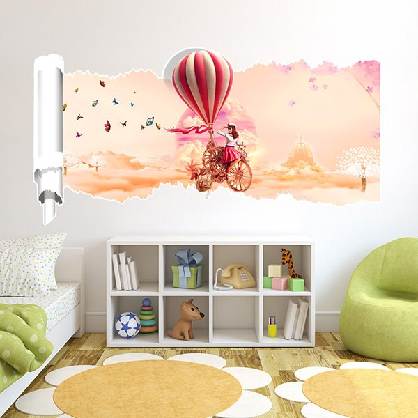 Creative Countryside Style Girl and Ballon 3D Wall Stickers