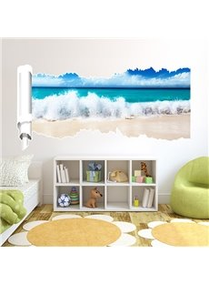 Leisurely Fresh Blue Sky and Sea Wave Pattern 3D Wall Stickers