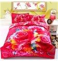 3D Beautiful Rose Reactive Printed Cotton 4-Piece Duvet Cover Sets
