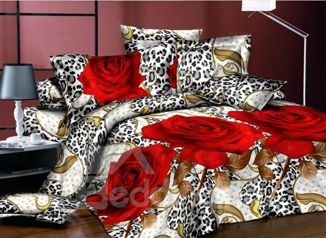 Popular 3D Flower Red Rose 4-Piece Polyester Duvet Cover Sets