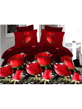 Luxury Red Rose Black Skin 4-Piece Polyester Duvet Cover Sets
