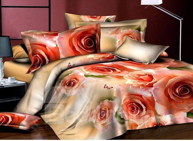 Noble Elegant Roses Reactive Printed 4-Piece Polyester Duvet Cover Sets