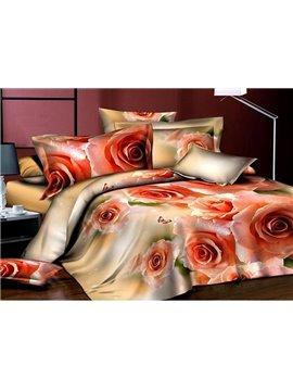 Noble Elegant Roses Reactive Printed 4-Piece Polyester Duvet Cover Sets