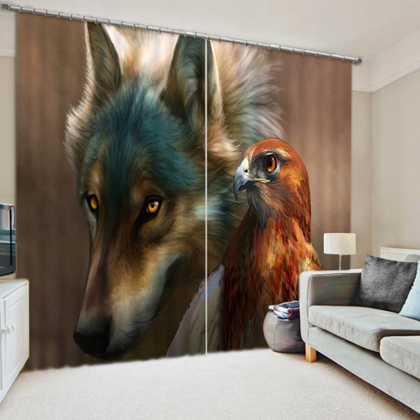 Realistic A Wolf and A Eagle Print 3D Blackout Curtain