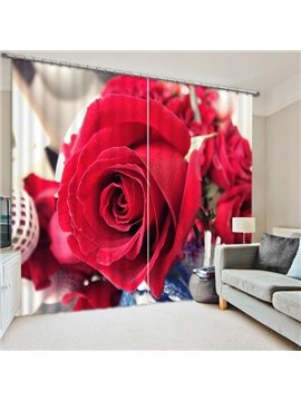 A Romantic Blooming Red Rose Print 3D Blackout Curtain