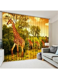 A Group of Cute Giraffes Print 3D Blackout Curtain