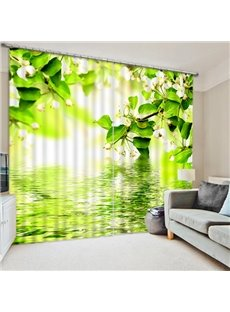 White Flowers on the Water Surface Printing 3D Curtain