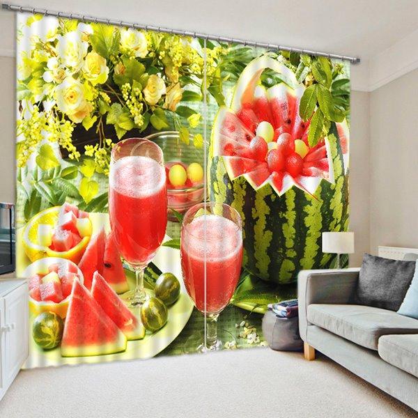 Delicious Watermelon Juice Print 3D Blackout Curtain