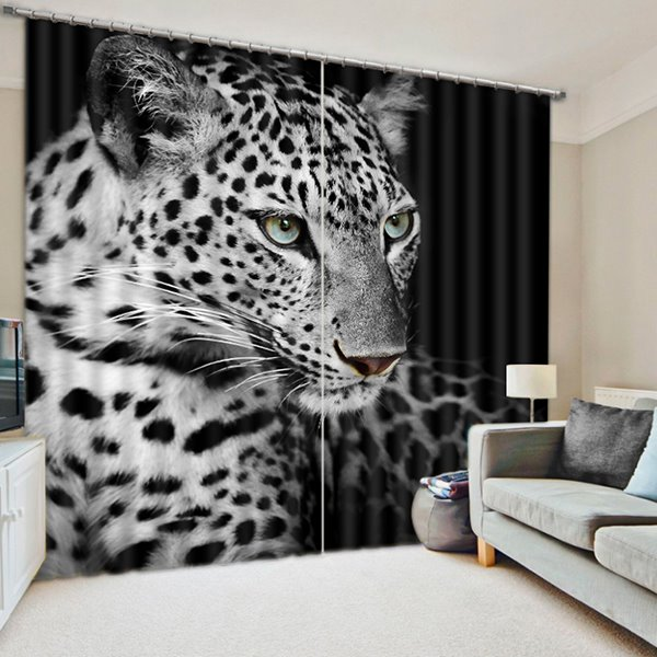 A Black and White Spots Cheetahs Printing 3D Curtain