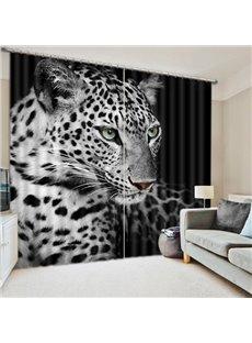 A Black and White Spots Cheetahs Printing 3D Curtain