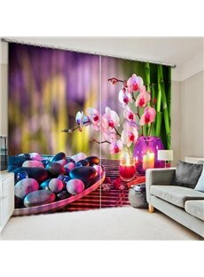 Romantic Pink Flowers and Cobblestones under the Candlelight Print 3D Blackout Curtain