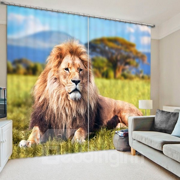 Vivid Majestic Lion Lying on the Grassland Print 3D Blackout Curtain