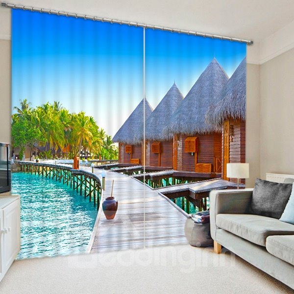 Wooden Houses beside the Water Print 3D Blackout Curtain