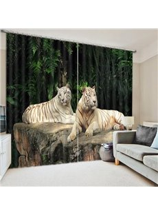 Couple Tigers Lying down on the Stone Print 3D Blackout Curtain