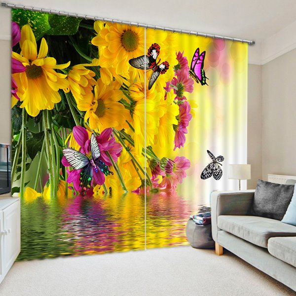 Colored Butterflies Flying around Beautiful Flowers Print 3D Blackout Curtain