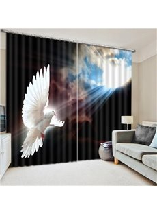 Awing Pigeon in the Cloudy Sky Print 3D Blackout Curtain