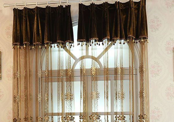 Elegant European Style Embossed Embroigery Light Brown Custom Sheer Curtain