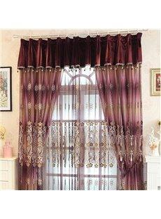 Romantic European Style Embossed Embroidery Purple Custom Sheer Curtain