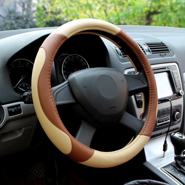 Classic Business Contrast Color Design PU Leather Steering Wheel Cover