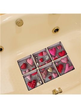 New Arrival Heart Pattern 3D Bathtub Stickers