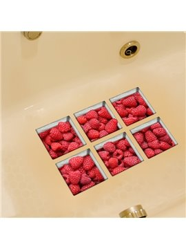 Hot Sale Raspberry Pattern 3D Bathtub Stickers