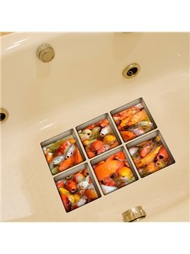 Hot Sale Gold Fish Pattern 3D Bathtub stickers