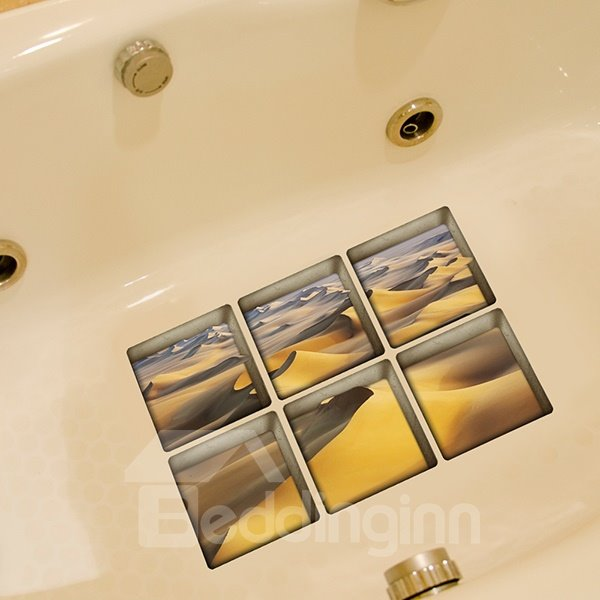 Hot sale Creative Desert Pattern 3D Bathtub Stickers