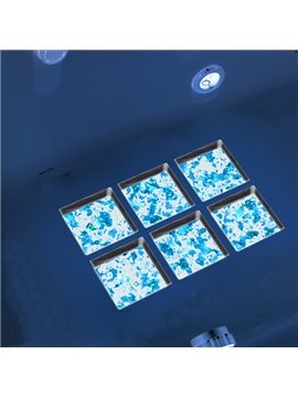 Hot Sale Creative Blue Bright Color Pattern 3D Bathtub Stickers