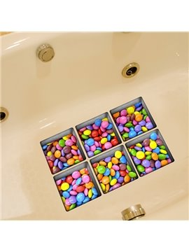 New Arrival Colorful Sweet Candy Pattern 3D Bathtub Stickers