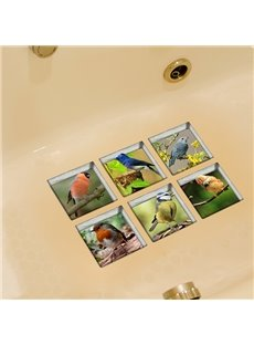 Hot Sale Wonderful Birds Pattern 3D Bathtub Stickers