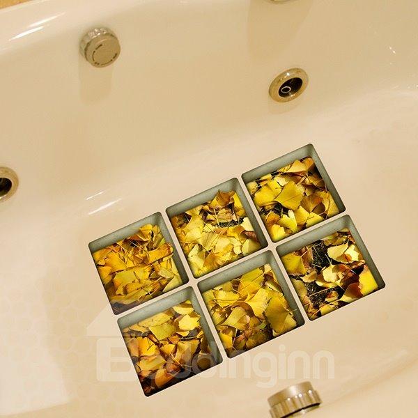 New Arrival Yellow Fallen Leaves Pattern 3D Bathtub Stickers
