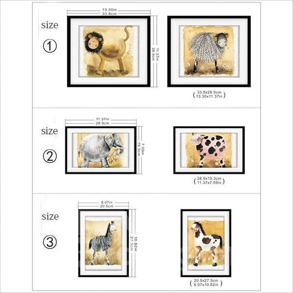 Cute Animal Pattern 3D Wall Art Prints For Bathroom Decoration