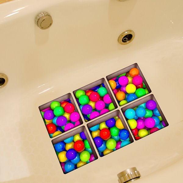 New Arrival Colorful Ball Pattern 3D Bathtub Stickers
