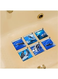 Hot Sale Dolphin Pattern 3D Bathtub Stickers for Bathroom Decoration