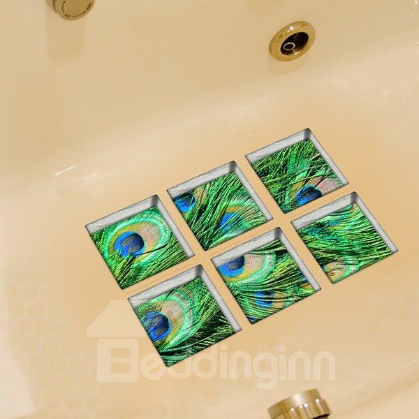 Hot Sale Peacock Pattern 3D Bathtub Stickers