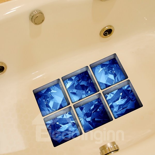 Amazing Blue Krystal Pattern 3D Bathtub Stickers