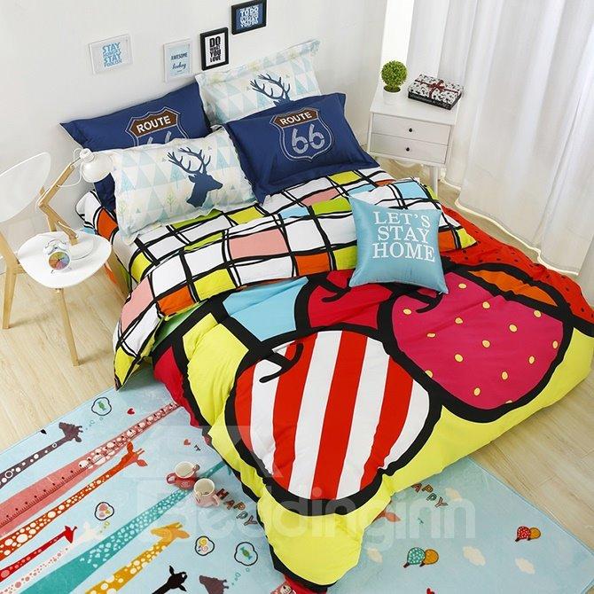 Bright Delicious Fruit 4-Piece Active Print Cotton Bedding Sets