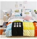 Hot Selling Cartoon House Print 4-Piece Tencel Duvet Cover Sets