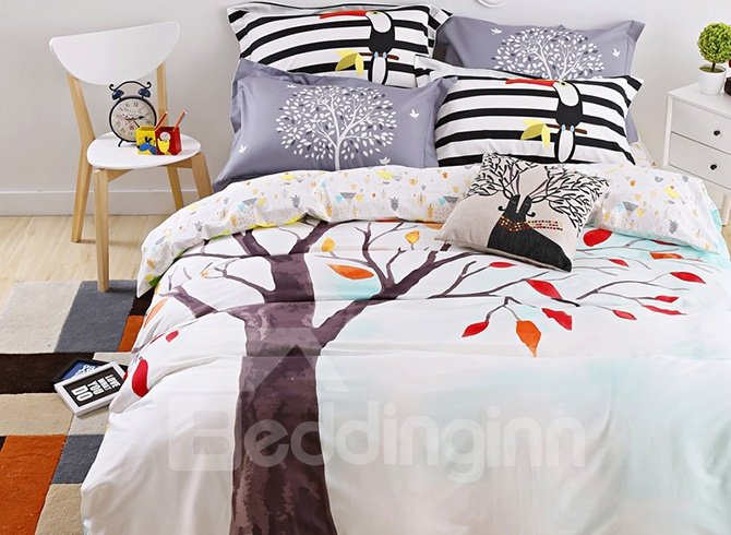 Special Design Beautiful Cartoon Tree Cotton 4-Piece Duvet Cover Sets