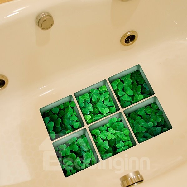 New Arrival Whitetip Clover Pattern 3D Bathtub Stickers
