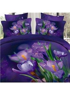 Fancy Dark Purple Flowers and Green Leaves Print Pillow Case