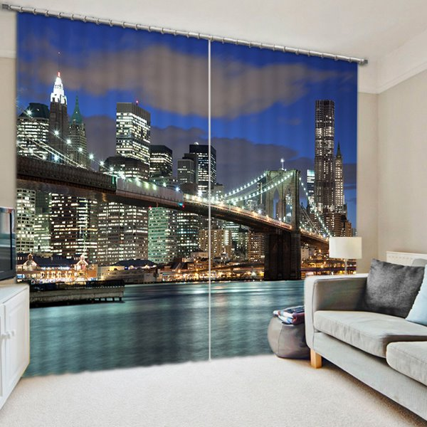 London Bridge at Night Print 3D Blackout Curtain