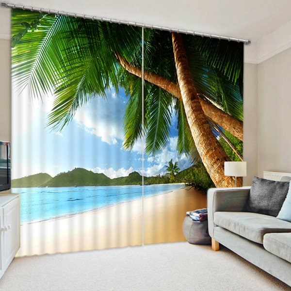 Realistic Coconut Trees In The Beach Print 3d Curtain