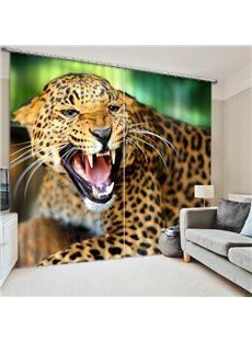 Leopard Howling Print 3D Blackout Curtain