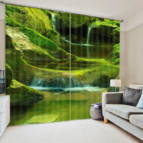 Beautiful Mountain Spring Print 3D Blackout Curtain